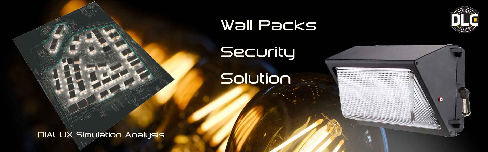 DLC led wall pack light for security lighting