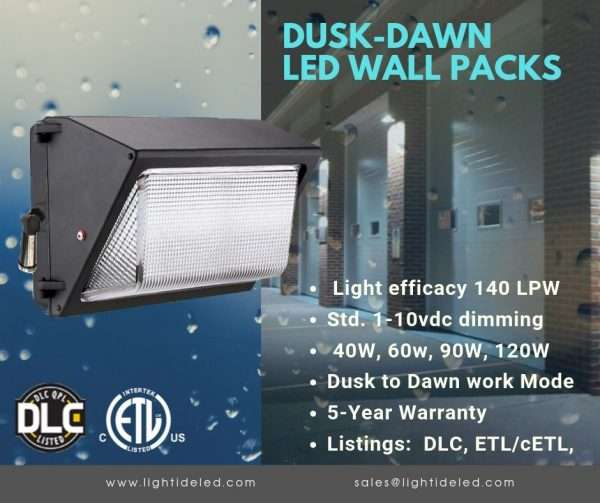 Lightide DLC QPL Wall Pack LED Light