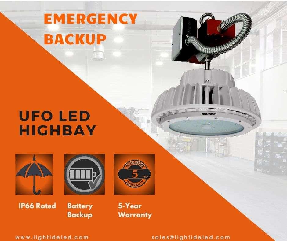 Emergency UFO LED High Bay Light Battery Backup