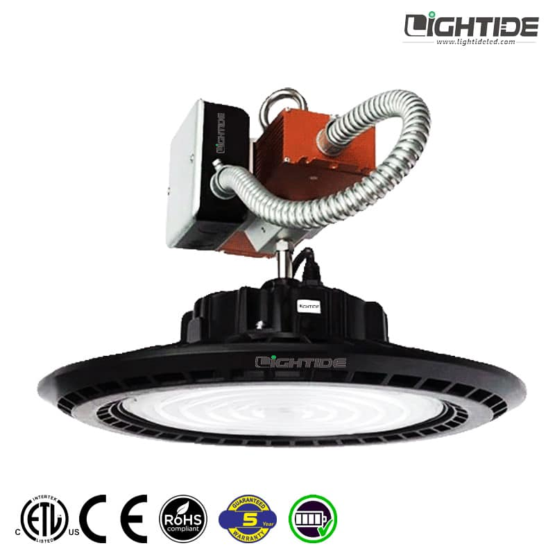 Lightide-Emergency-led-high-bay-light-fixture-battery-backup-UL924-&-CEC-Title-20