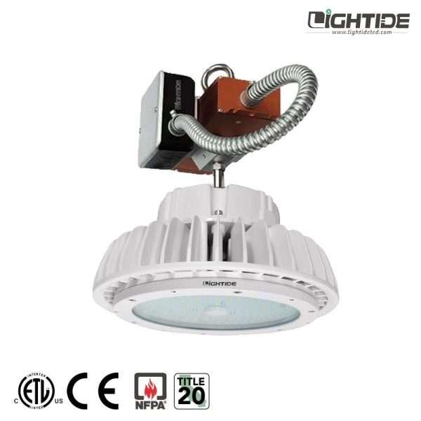 Lightide-white-UFO-emergency-battery-backup-led-high-bay-light