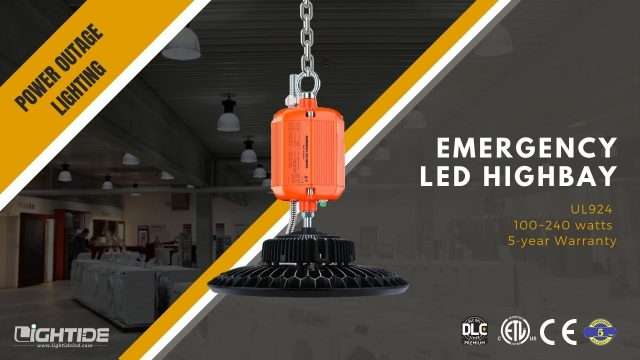 Lightide UL924 Emergency led high bay Light battery backup