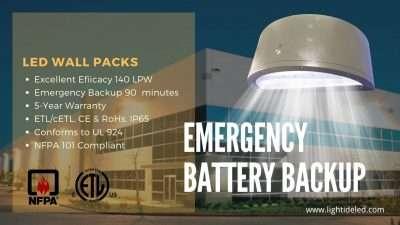 Battery Backup led wall pack Emergency Light